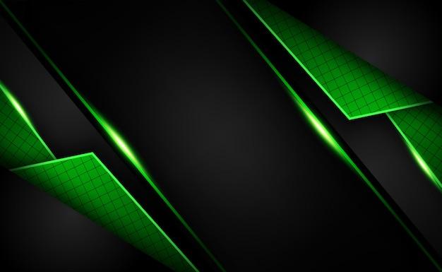 Resumen brillante forma verde oscuro superposición de tecnología de fondo y concepto futurista Vector Premium