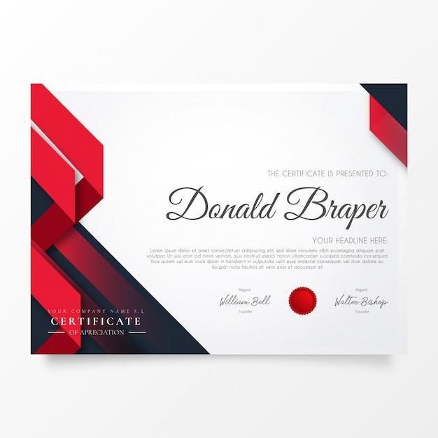 Resumen certificado de apreciación con formas modernas. vector gratuito