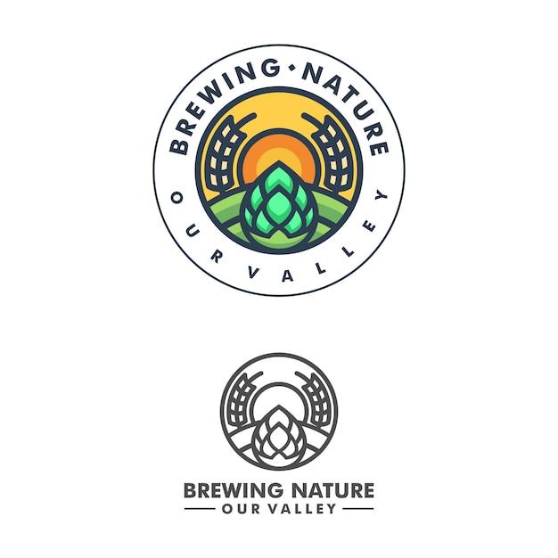 Resumen de concepto de elaboración de la cerveza ilustración vectorial plantilla de diseño Vector Premium