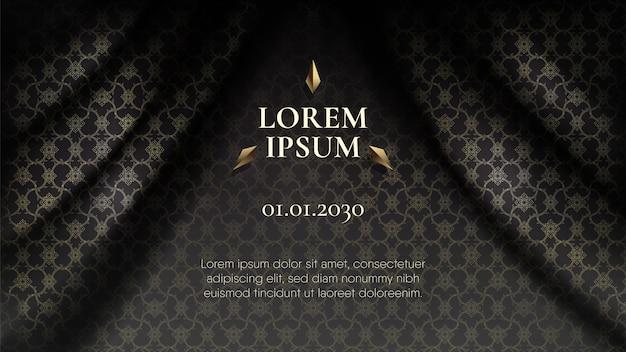 Resumen conexión oro patrón tailandés en cortina Vector Premium
