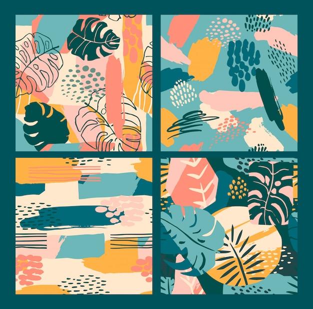 Resumen creativos patrones sin fisuras con plantas tropicales y antecedentes artísticos. Vector Premium