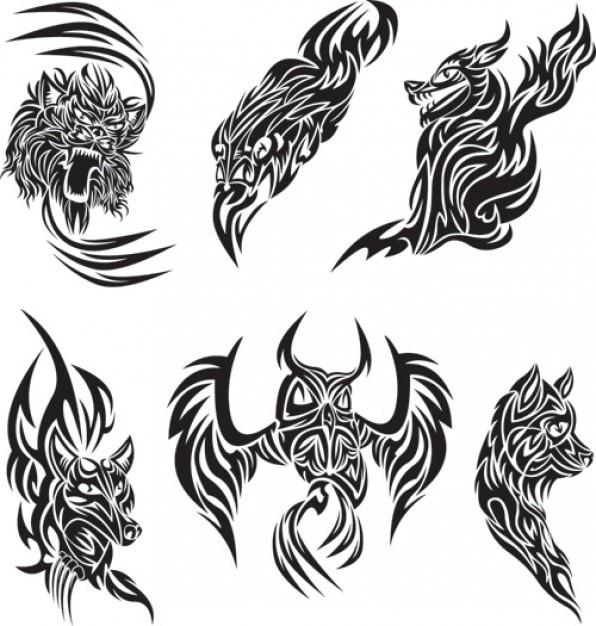 Resumen de archivo libre de animales vectores de tatuajes ...