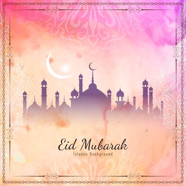 Resumen eid mubarak islámico elegante vector gratuito