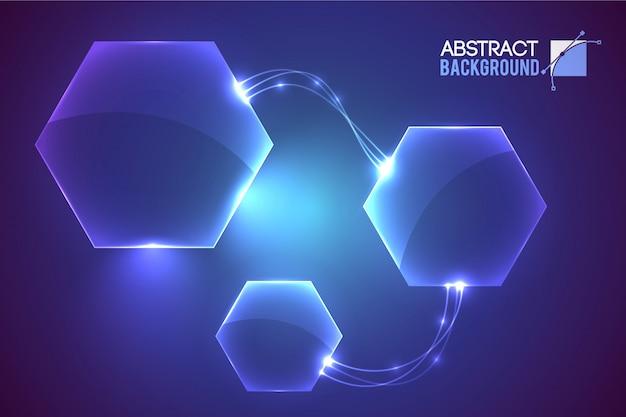Resumen con elementos en forma de hexágono vacío de interfaz virtual moderna conectados vector gratuito