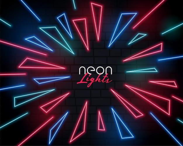 Resumen de estilo de explosión de luz de neón brillante vector gratuito