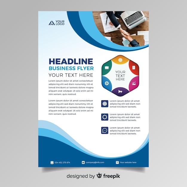 Resumen folleto de negocios con foto vector gratuito