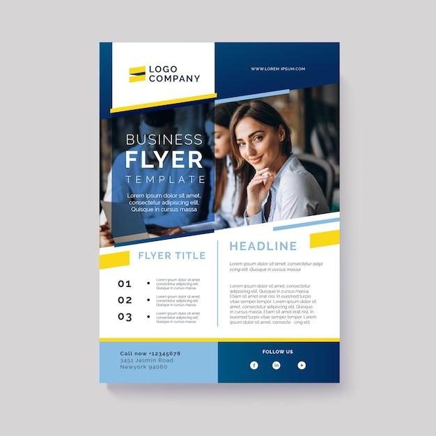 Resumen folleto de negocios con foto Vector Premium