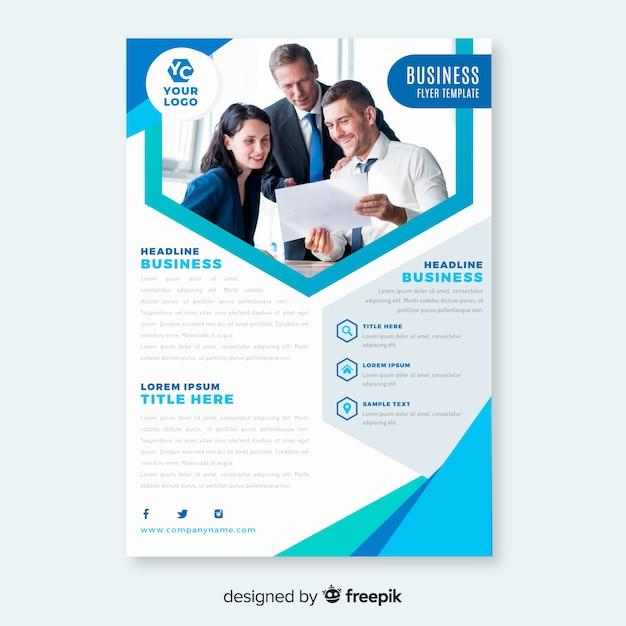 Resumen folleto de negocios con imagen vector gratuito