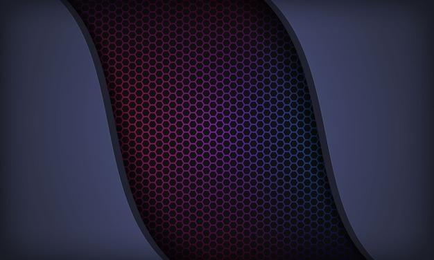 Resumen fondo azul oscuro con capas superpuestas. textura con patrón de hexágono colorido. Vector Premium