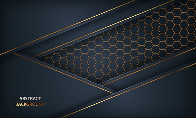 Resumen fondo azul oscuro. textura con elemento dorado y diseño hexagonal. Vector Premium