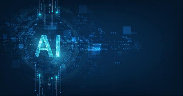 Resumen futurista digital y tecnología sobre fondo de color azul oscuro. redacción ai (inteligencia artificial) con el diseño del circuito. Vector Premium