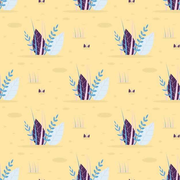 Resumen hojas de hierba vector patrón plano sin fisuras vector gratuito