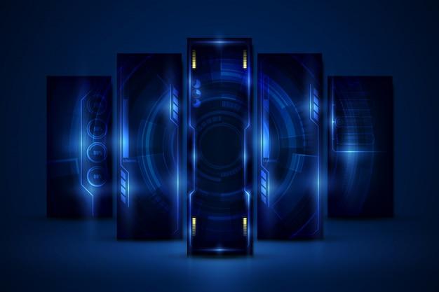 Resumen hud ui gui futuro sistema de pantalla futurista fondo de diseño virtual Vector Premium