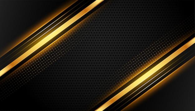Resumen de líneas premium negro y dorado vector gratuito