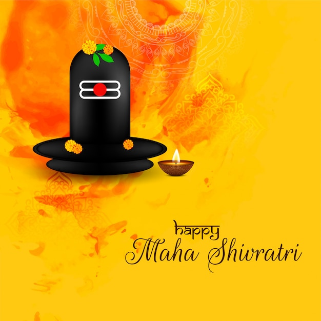 Resumen maha shivratri tarjeta de felicitación con shiv linga idol Vector Premium