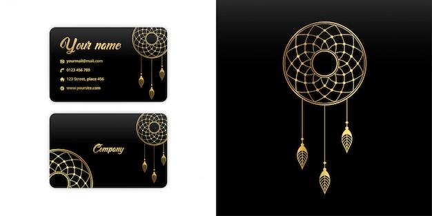 Resumen mandala atrapasueños tarjeta de visita. fondo arabesco de lujo. motivo floral en color dorado Vector Premium