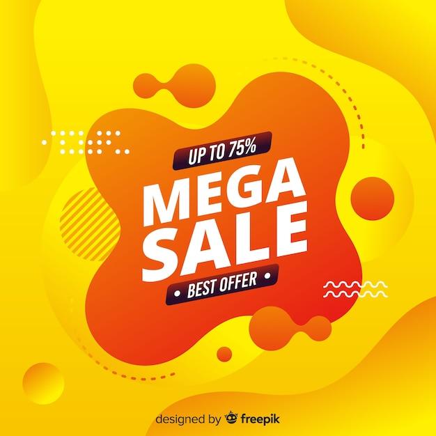 Resumen mega venta fondo amarillo vector gratuito