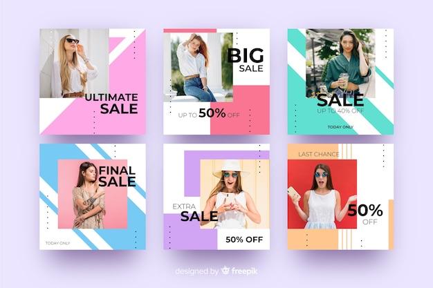 Resumen moda venta instagram post colección vector gratuito