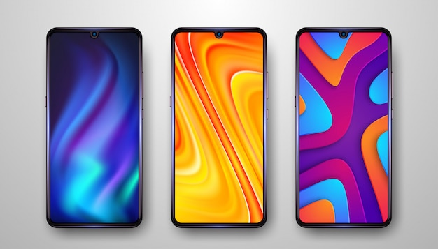 Resumen, moderno fondo de pantalla de teléfono móvil con tres opciones. Vector Premium