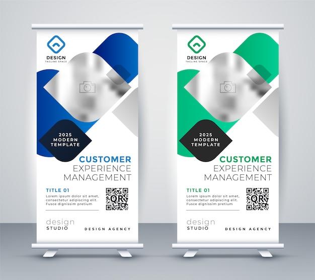 Resumen negocio profesional roll up banner diseño vector gratuito
