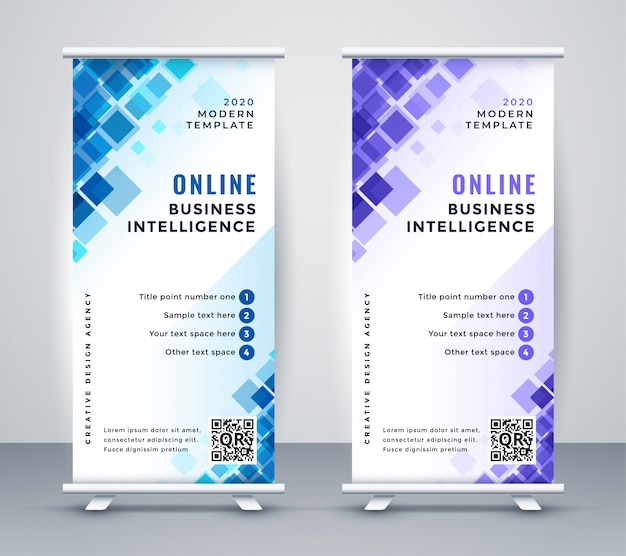 Resumen de negocios rollup standee banner vector gratuito