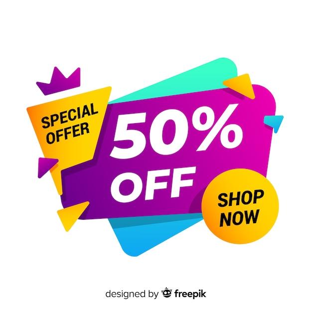 Resumen oferta especial banner vector gratuito