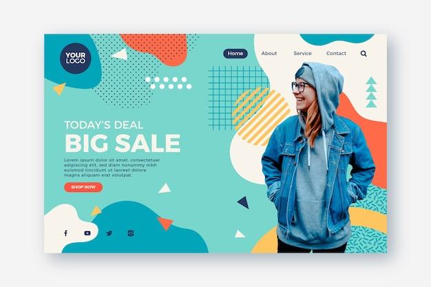 Resumen página de aterrizaje de ventas con foto vector gratuito