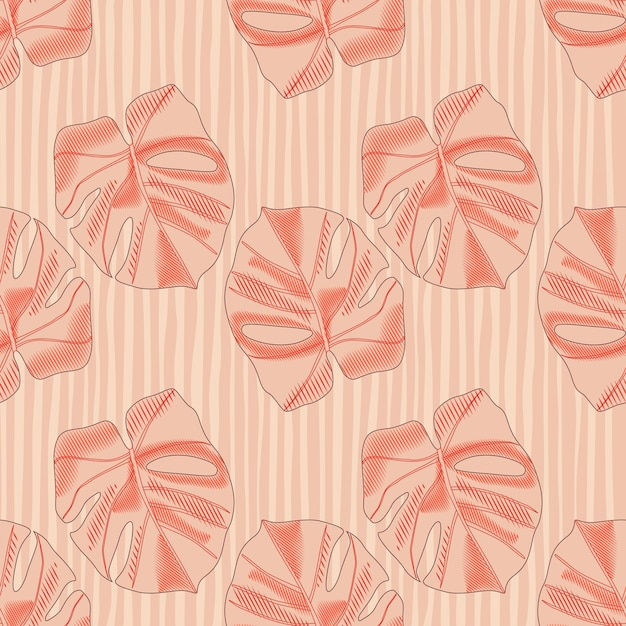 Resumen de patrones sin fisuras en tonos pastel con siluetas simples de monstera. Vector Premium