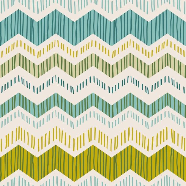 Resumen de patrones geométricos sin fisuras con zigzag. Vector Premium