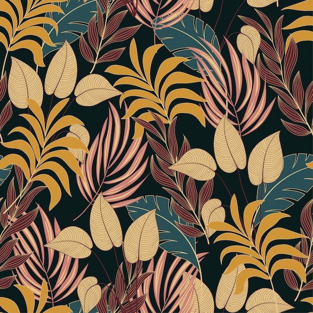 Resumen de patrones tropicales sin fisuras con plantas y hojas amarillas y marrones brillantes Vector Premium