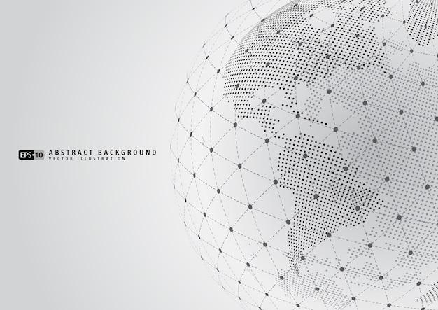 Resumen planeta tierra con sphare wireframe Vector Premium