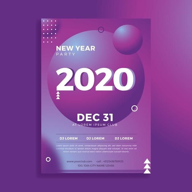Resumen plantilla flyer fiesta año nuevo 2020 vector gratuito