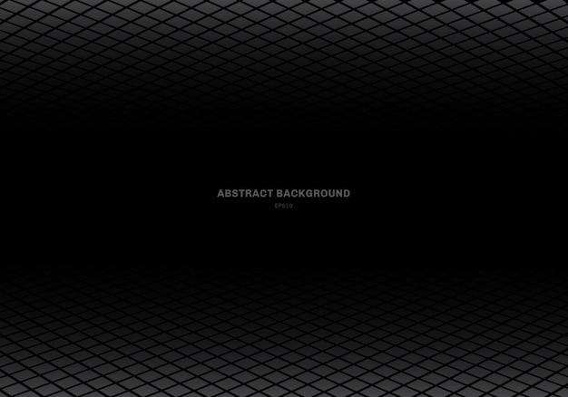 Resumen plantilla gris cuadrado fondo negro Vector Premium