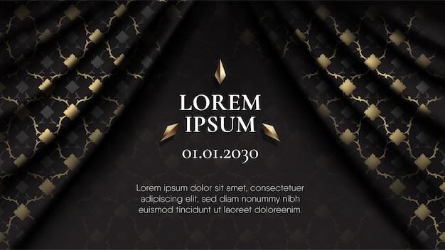 Resumen que conecta el patrón tailandés negro y dorado en la cortina realista Vector Premium