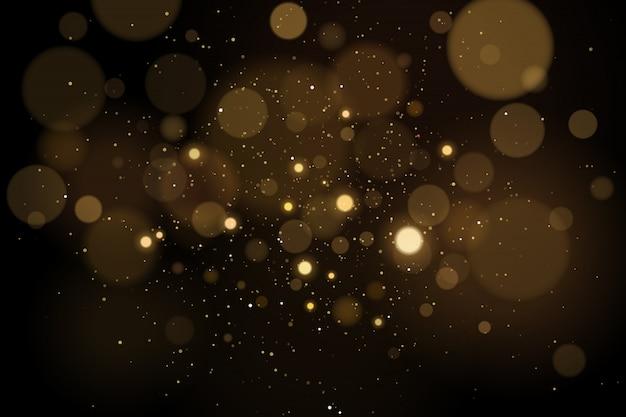 Resumen resplandores efecto bokeh con brillos sobre un fondo negro. luces de navidad. Vector Premium