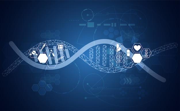 Resumen salud adn ciencia ciencia salud fondo tecnología digital Vector Premium