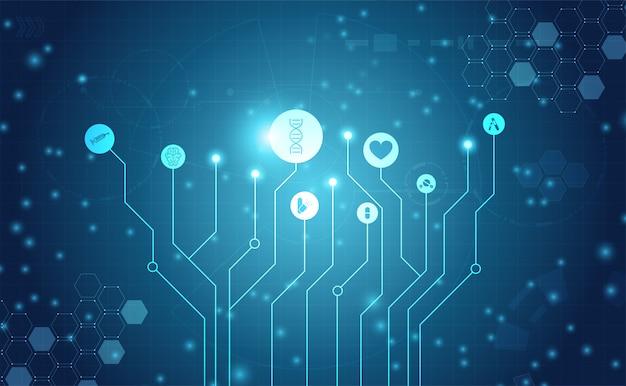 Resumen salud ciencia médica salud icono tecnología digital Vector Premium