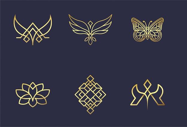 Resumen set 6 logo diseño oro Vector Premium