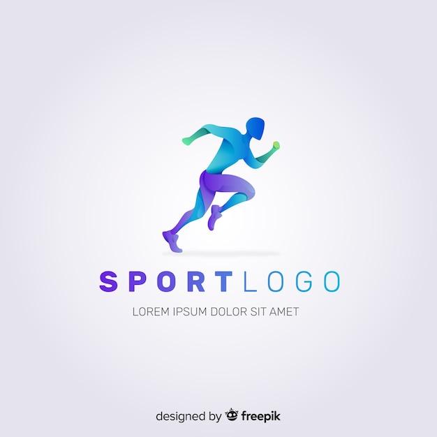 Resumen silueta deporte logo diseño plano Vector Premium