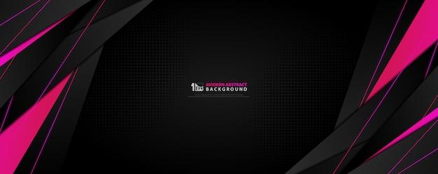 Resumen tecnología fondo ancho negro con degradado rosa magenta gradiente tecnología diseño. Vector Premium