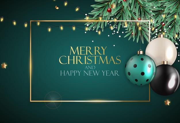 Resumen vacaciones año nuevo y fondo feliz navidad. ilustración vectorial Vector Premium