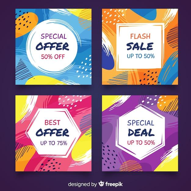 Resumen venta instagram post collection vector gratuito