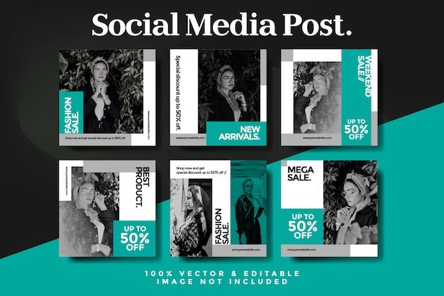 Resumen de venta de moda instagram post set Vector Premium