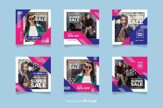 Resumen de venta de moda instagram post set vector gratuito