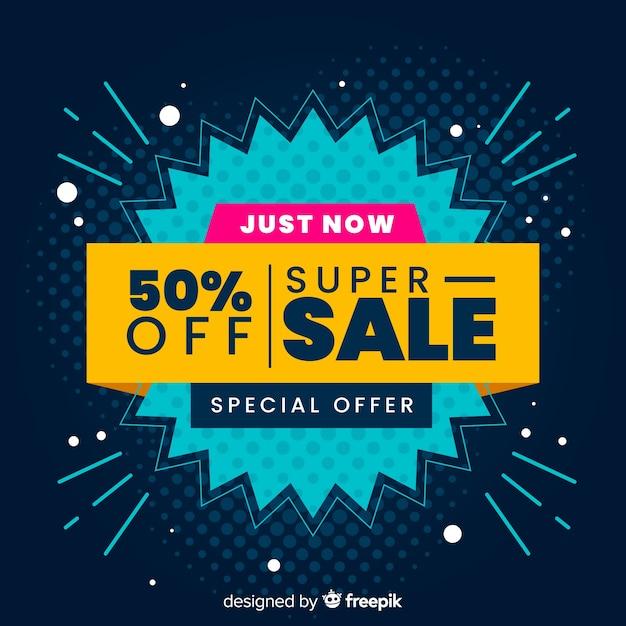 Resumen ventas fondo plano estilo vector gratuito