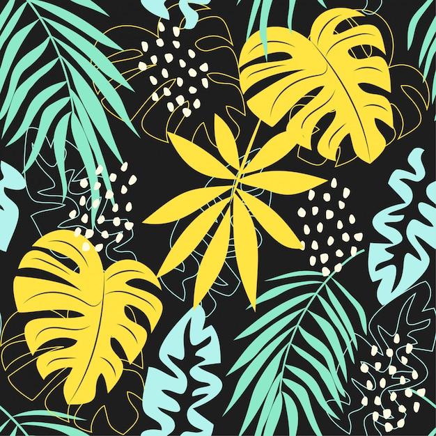 Resumen de verano de patrones sin fisuras con coloridas hojas y plantas tropicales sobre un fondo gris Vector Premium