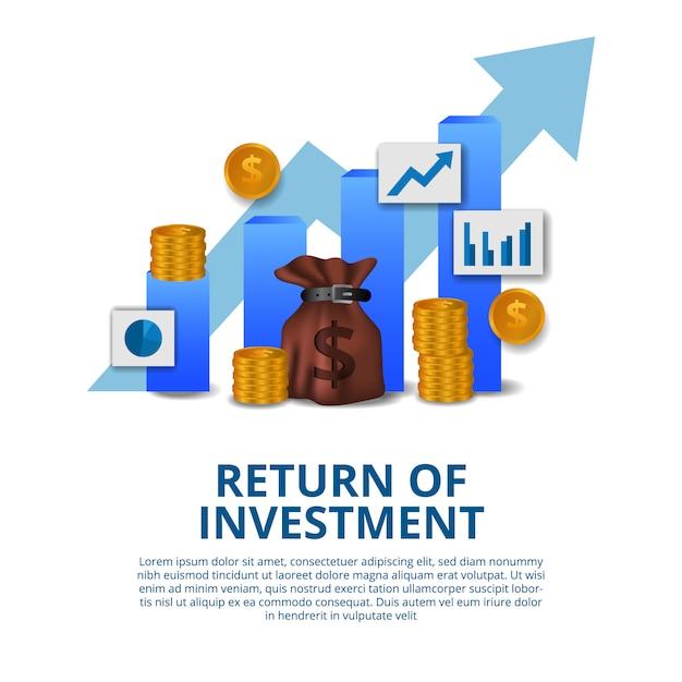 Retorno del concepto de inversión crecimiento empresarial finanzas flecha éxito Vector Premium
