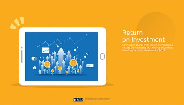 Retorno de la inversión, concepto de oportunidad de beneficio. flechas de crecimiento empresarial para el éxito en la pantalla de la tableta. gráfico gráfico aumentar y crecer planta de monedas de dólar. Vector Premium