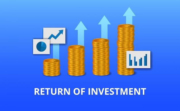 Retorno de la inversión roi, concepto de oportunidad de beneficio. crecimiento de las finanzas empresariales para el éxito. tabla de flecha de moneda de oro Vector Premium