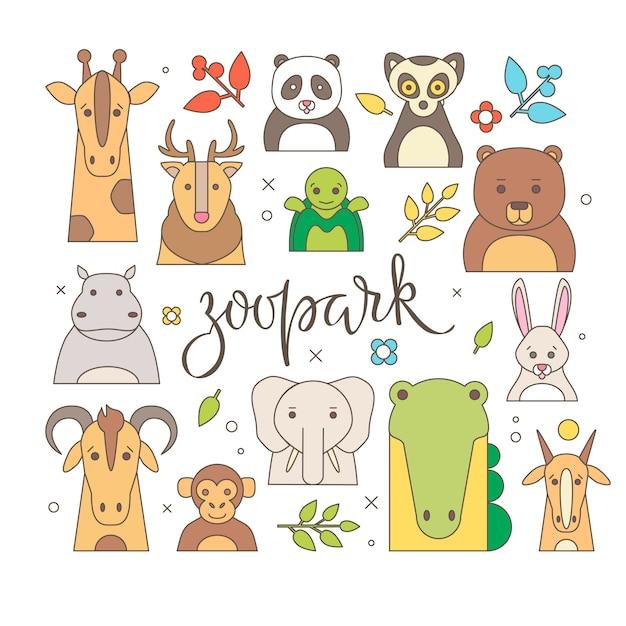 Retrato de animales de zoológico con diseño plano   Descargar ...